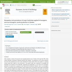 European Journal of Soil Biology Volume 63, July–August 2014, Pages 21–27 Dissipation and persistence of major herbicides applied in transgenic and non-transgenic canola production in Quebec