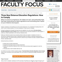 Three New Distance Education Regulations: How to Comply