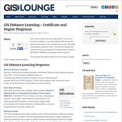 GIS Distance Learning - Certificate and Degree Programs