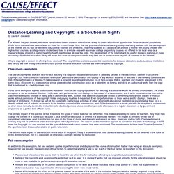 Distance Learning and Copyright: Is a Solution in Sight?