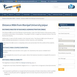 Distance MBA from Manipal University Jaipur