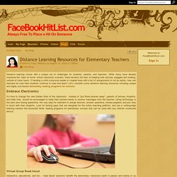 Distance Learning Resources for Elementary Teachers