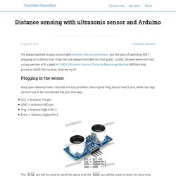 Distance sensing with ultrasonic sensor and Arduino - Tautvidas Sipavičius