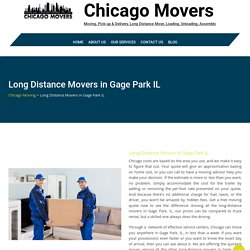 Long Distance Movers in Gage Park IL