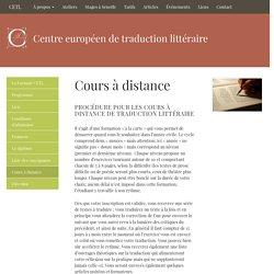 Cours à distance — CETL – Centre Européen de Traduction Littéraire