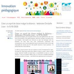 Créer un esprit de classe malgré la distance - Webinaire Christelle Lison - le 13/10/2020