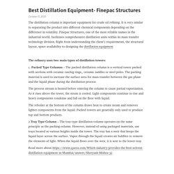 Best Distillation Equipment- Finepac Structures