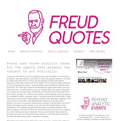 freud quotes: Freud uses three distinct terms for the agency that propels the subject to act ethically: