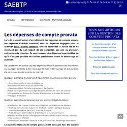 Distinction entre les dépenses de compte prorata et les dépenses interentreprises - SAEBTP