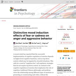 Distinctive mood induction effects of fear or sadness on anger and aggressive behavior