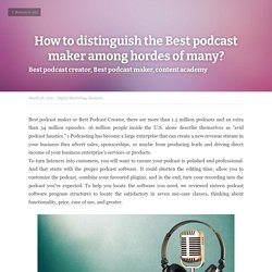 How to distinguish the Best podcast maker among hordes of many?