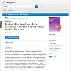 Distinguishing knowledge-sharing, knowledge-construction, and knowledge-creation discourses