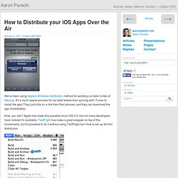 How to Distribute your iOS Apps Over the Air