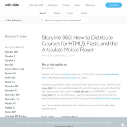 Storyline 360: How to Distribute Courses for HTML5, Flash, and the Articulate Mobile Player