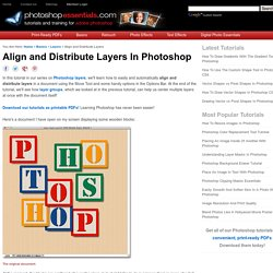 Align and Distribute Layers In Photoshop