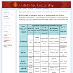 Distributed Leadership Matrix of dimensions and inputs