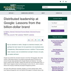 Distributed leadership at Google: Lessons from the billion-dollar brand