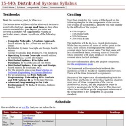 15-440: Distributed Systems Syllabus