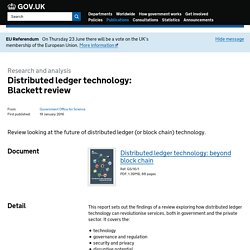 Distributed ledger technology: Blackett review