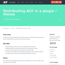 Distributing ACF in a plugin / theme