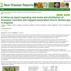 BBSP 11/10/17 A follow-up report regarding new hosts and distribution of European mountain ash ringspot-associated virus in Sorbus spp. in England
