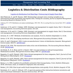 Logistics & Distribution Costs Bibliography