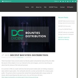 DECENT Bounties distribution - DECENT: Blockchain Content Distribution Platform
