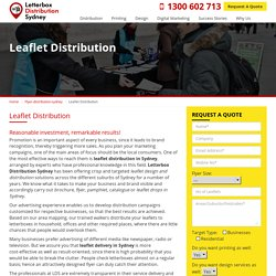 Searching for Leaflet Distribution in Sydney?