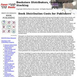 Book Distribution Costs for Publishers - Bookstore Distributors, Ordering and Stocking