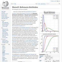 Maxwell–Boltzmann distribution