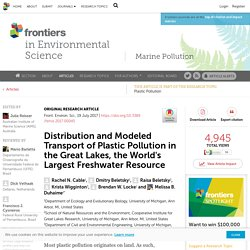 Front. Environ. Sci., 19 July 2017 Distribution and Modeled Transport of Plastic Pollution in the Great Lakes, the World's Largest Freshwater Resource