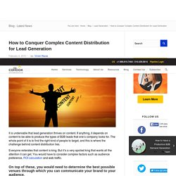 How to Conquer Complex Content Distribution for Lead Generation - Callboxinc.com - B2B Lead Generation Company