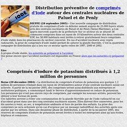 Distribution de pilules d'iode à la population en cas d'alerte nucléaire