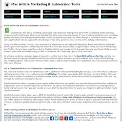 Content Distribution And Article Submitters For Mac