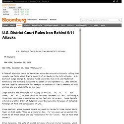 U.S. District Court Rules Iran Behind 9/11 Attacks