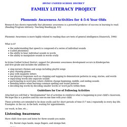 Irvine Unified School District: Phonemic Awareness Activities for 4-5-6 Year Olds