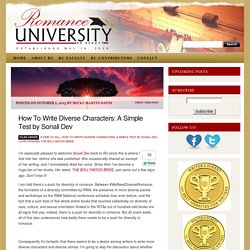 How To Write Diverse Characters: A Simple Test by Sonali Dev