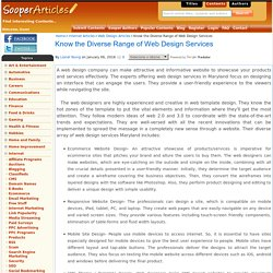 Know the Diverse Range of Web Design Services