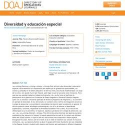 Diversidad y educación especial
