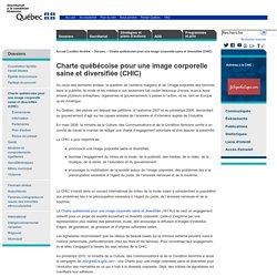 Charte québécoise pour une image corporelle saine et diversifiée (CHIC): Secrétariat à la condition féminine pour l'égalité entre les femmes et les hommes