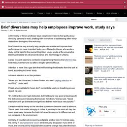 Brief diversions may help employees improve work, study says