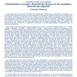 Création libre et usages : diversité des licences et des pratiques, diversité des objectifs
