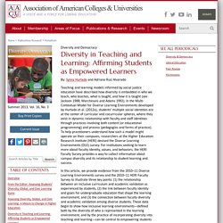 Diversity in Teaching and Learning: Affirming Students as Empowered Learners