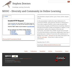 MOOC – Diversity and Community in Online Learning