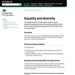 How the Department is meeting its equality commitments - About the Department