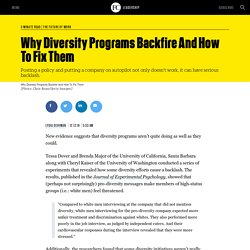 Why Diversity Programs Backfire And How To Fix Them