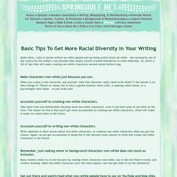 Basic Tips To Get More Racial Diversity In Your Writing
