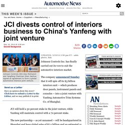 JCI divests control of interiors business to China's Yanfeng with joint venture