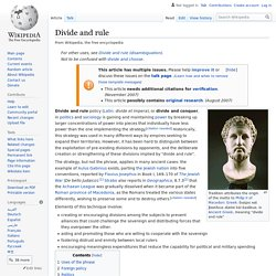 Divide and rule - Wikipedia