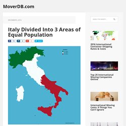 Italy Divided Into 3 Areas of Equal Population - MoverDB.com